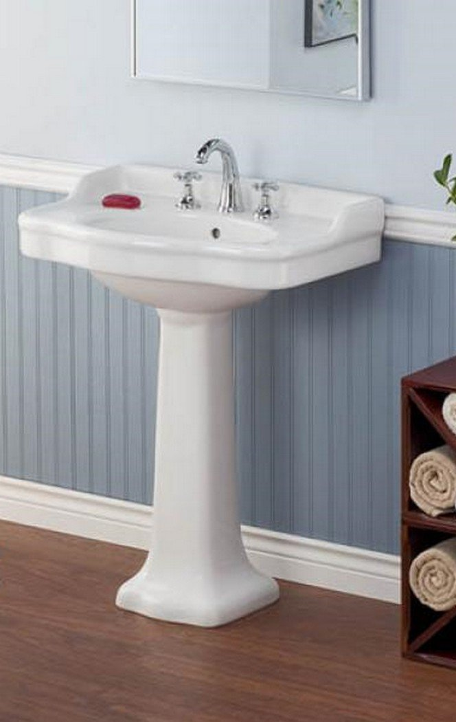 Cheviot Products Inc. 350/28-WH-8 Antique Pedestal Sink 3 Faucet Holes 8'' Drilling, 28'' x 21'', White by Cheviot Products Inc.