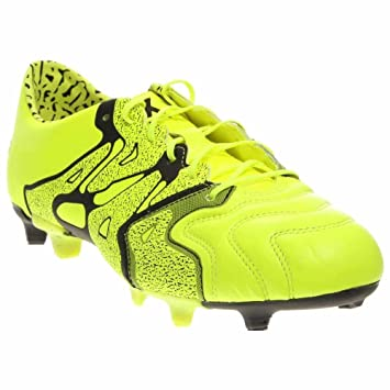 adidas X 15.1 FG/AG Leather Soccer Cleats (Solar Yellow, Black) Sz