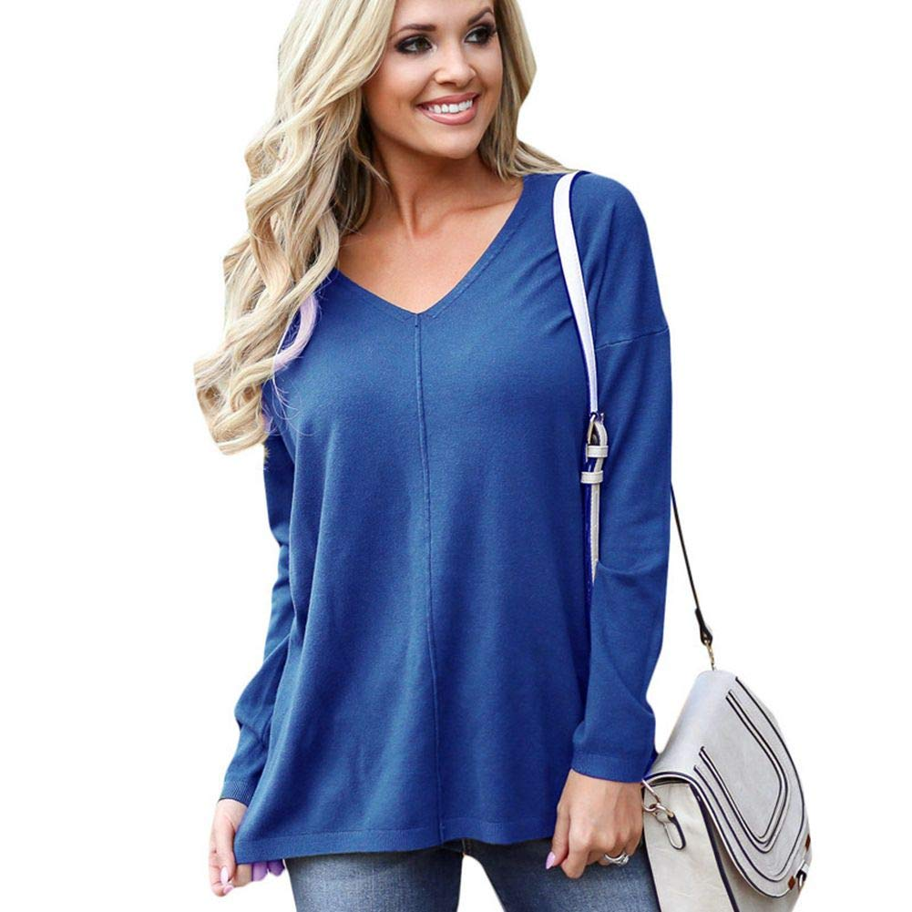 11bluee Naivikid Women's Tops Casual V Neck TShirt Long Sleeve Casual Blouse Tunic Tops SXXXL