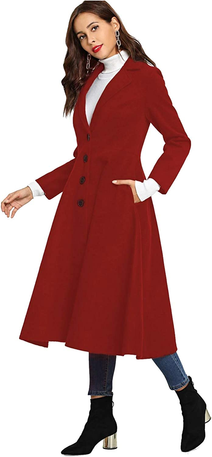 Peplum Pointe Womens Winter Notch Lapel Single Breasted Mid-Long Trench Coat Dress with Pockets