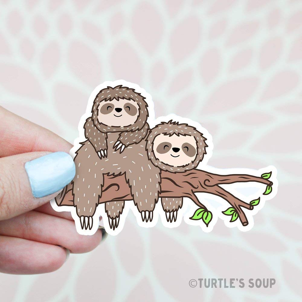 Amazon com sloth sticker cute stickers friendship best friends bestie gift bff happy sticker sloth art animal stickers home decor