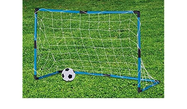 Jaula porterías de fútbol + Balón 96 x 64 x 42 cm azul: Amazon.es ...