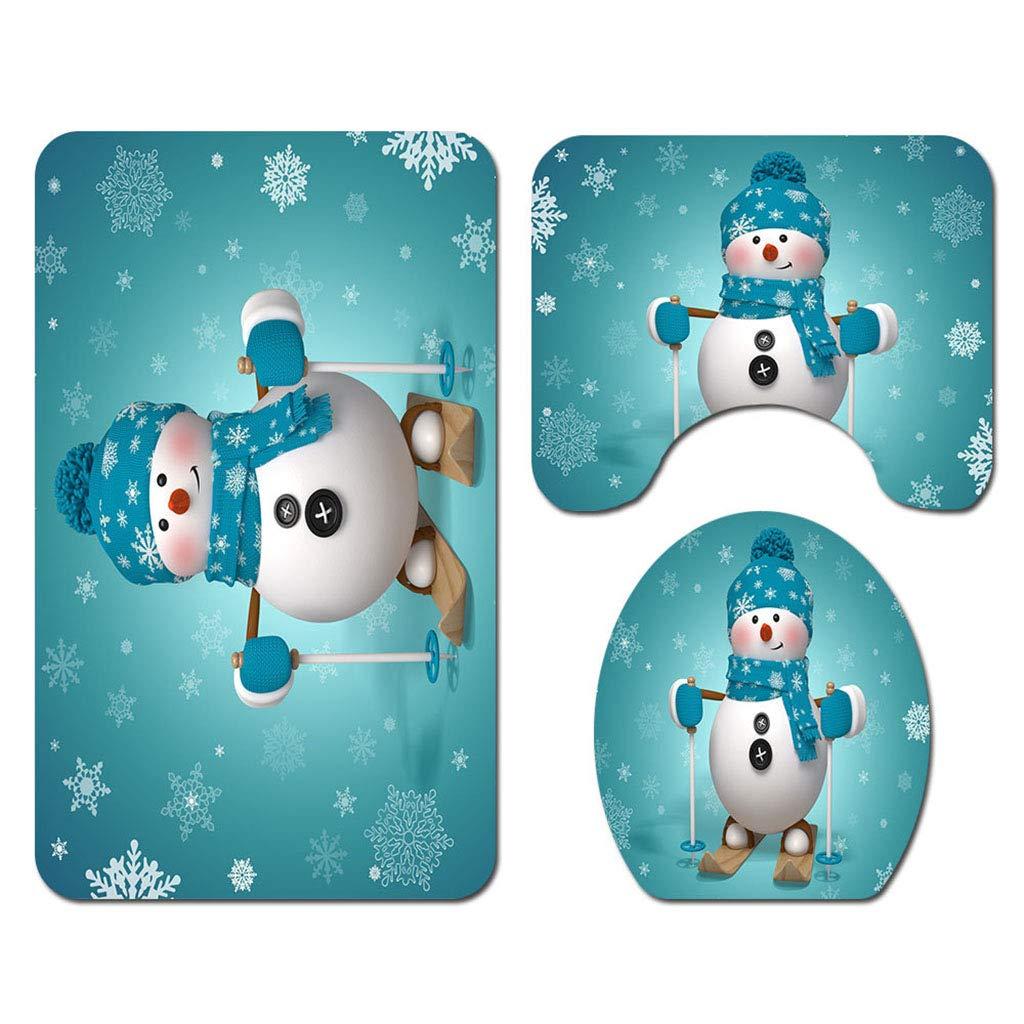 Weihnachten Dekorationen Badezimmer Duschvorhang Toilettendeckel Matte Wasserdicht