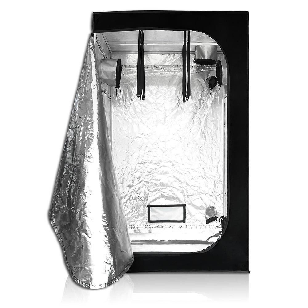 New 4x4x6.5Ft 100% Reflective Mylar Window Grow Tent 48x48x78 Hydroponic