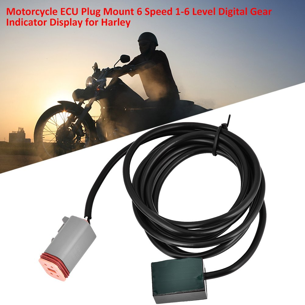 Acouto Motorcycle ECU Plug Mount 6 Speed 1-6 Level Digital Gear Indicator Display for Harley