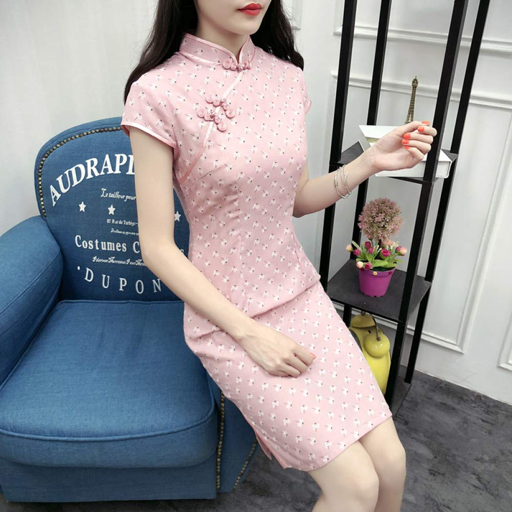 A1 XXL Qingxi Cheongsam courte été Daily Girl Amélioré Slim Robe en Coton à Manches Courtes Cheongsam
