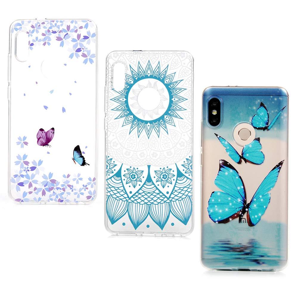 Lanveni Lot de 3 Coque pour Xiaomi Redmi Note 5 Pro, Soft Housse é tui de Protection en TPU Case Souple Silicone Transparent Slim Doux Antichoc Ultra-Thin Fine Mince Premium lé ger - Bleu Papillon