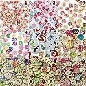 Fityle 約200本 丸形 スター柄 詰め合わせ クラフト 2穴 木製 縫製 ボタン 装飾 か飾り物の商品画像