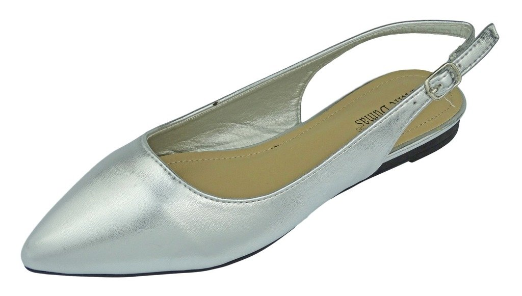 Pierre Dumas Women's Slingback Abby-14 Vegan Leather Pointed Toe Slingback Fashion Dress Flats Shoes B01MSTJLV7 8.5 B(M) US|Silver