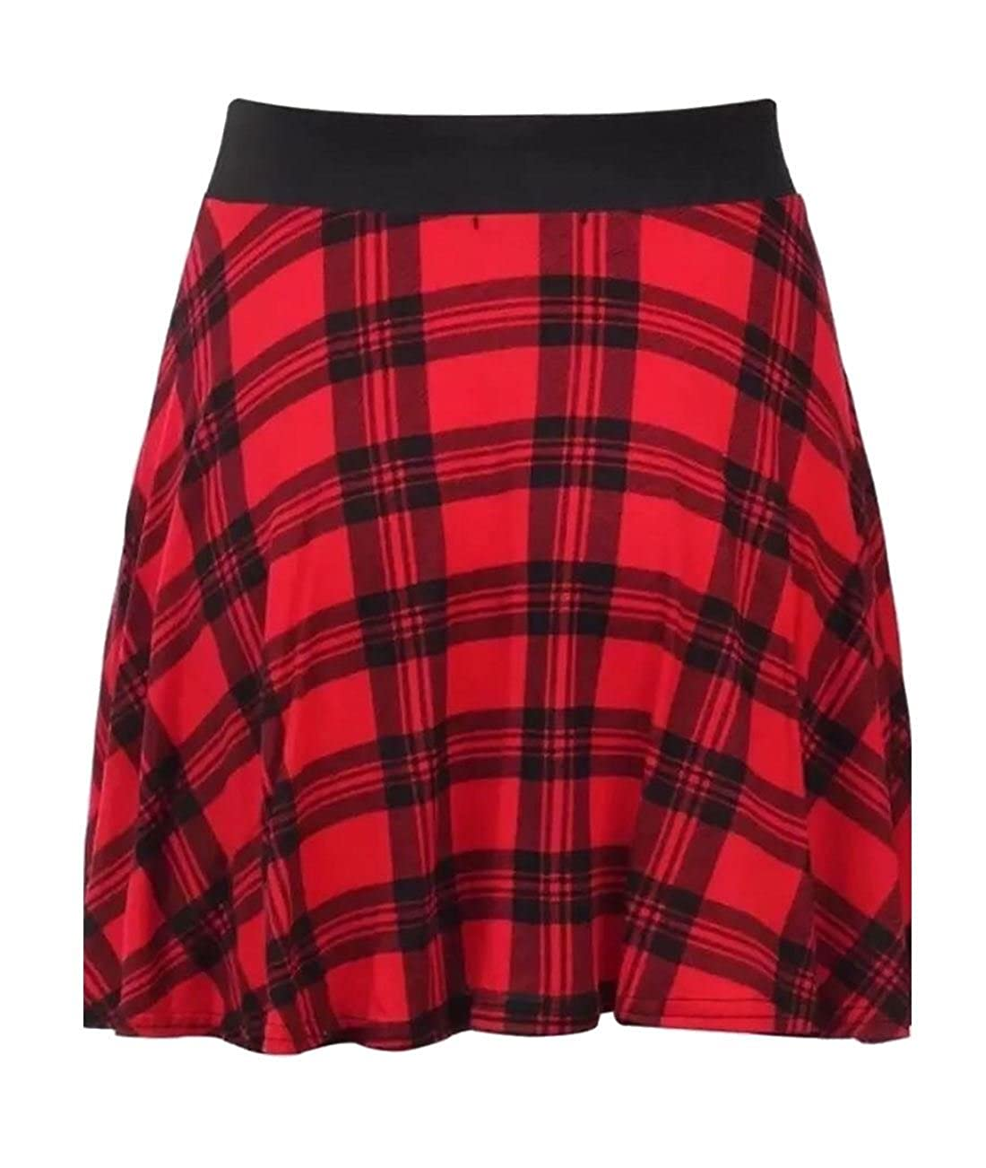New Ladies Red Tartan Check Print Belted /& Elasticated  Flared Skirt 8-22
