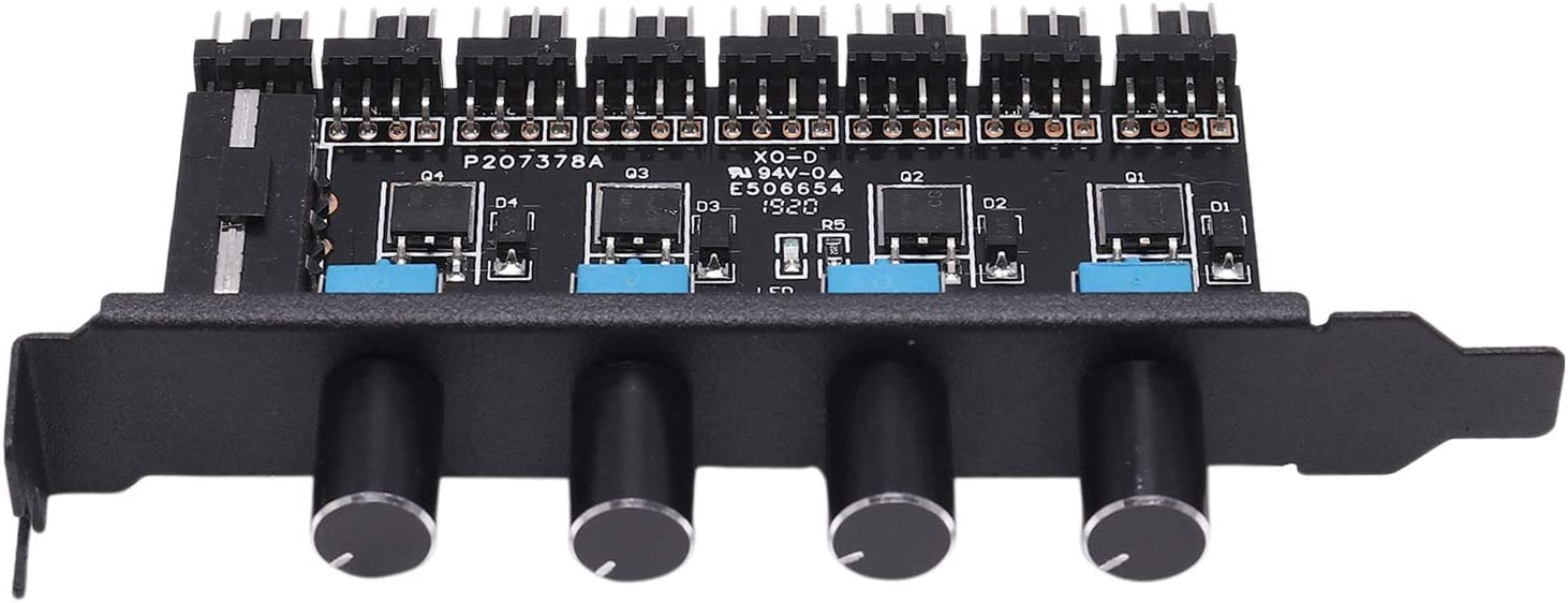 REFURBISHHOUSE PC 8 Canales Ventilador Hub 4 Perillas Controlador de Velocidad del Ventilador de RefrigeracióN para CPU Caja HDD VGA PWM Ventilador Soporte PCI 12V Ventilador Control Fuente