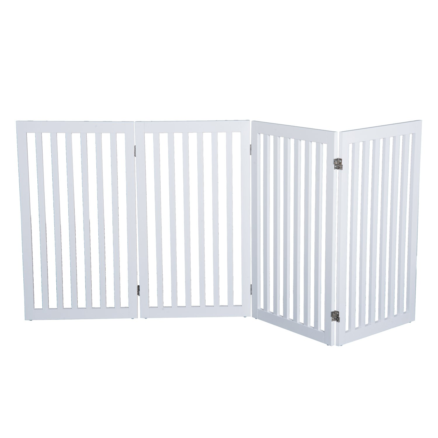 PawHut 36'' x 80'' 4 Panel Folding Wooden Indoor Freestanding Pet Safety Gate for Dogs (White)