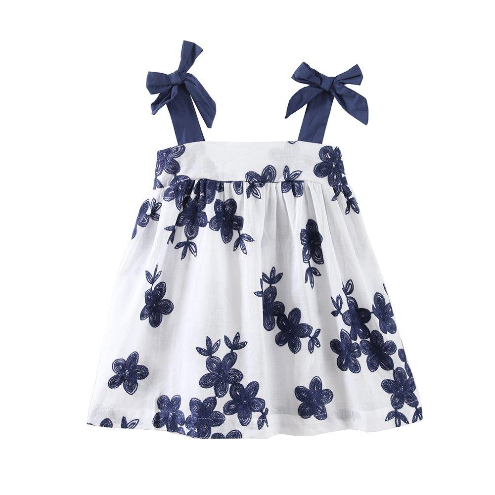 UWESPRING Little Girls Fine Embroidery Flower Summer Sling Dresses 8-9T White