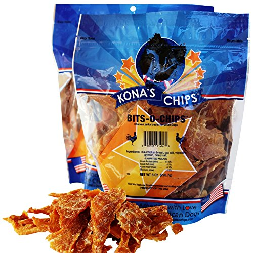 KONA'S CHIPS 2 Pack BITS-O- Chips 8 oz; Dog Treats Made in USA ONLY – 100% USDA Chicken, All Natural, Healthy & Safe Treats for Your Dog. Smaller Jerky Pieces for Small Dogs.