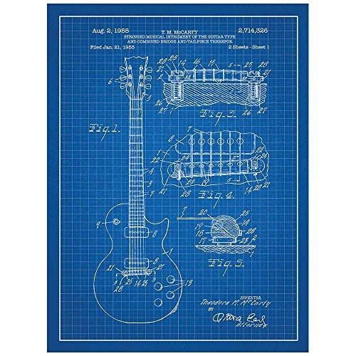- Inked and Screened SP_ADIO_2,714,326_BG_24_W Gibson Les Paul Guitar Design Patent Art Poster Silk Screen Print, Blue, 18