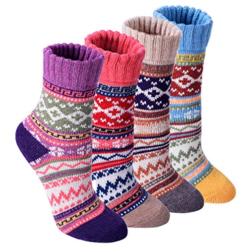 GEOOT Womens Vintage Style Cotton Knitting Wool Warm Winter Fall Crew Socks 4-pack (Large, 4colormix) (Fall Winter Boots)