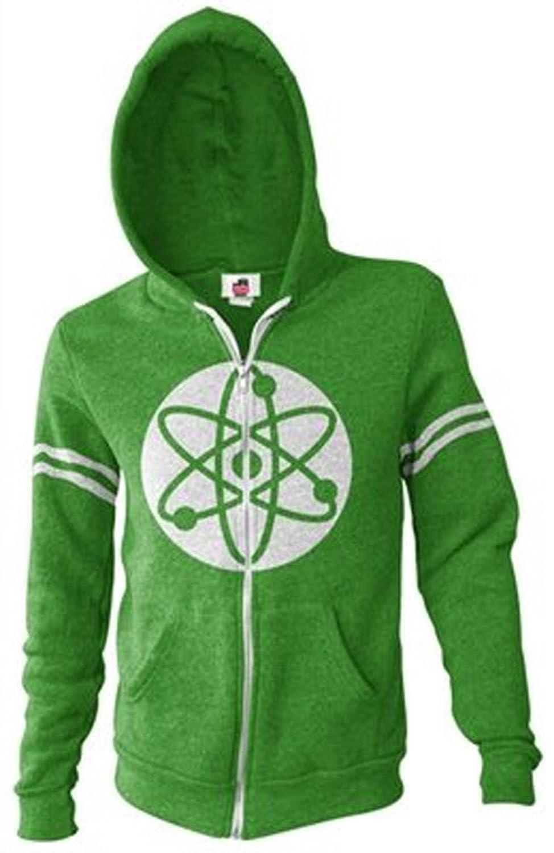 The Big Bang Theory Atom Green Zip Up Hooded Sweatshirt Hoodie
