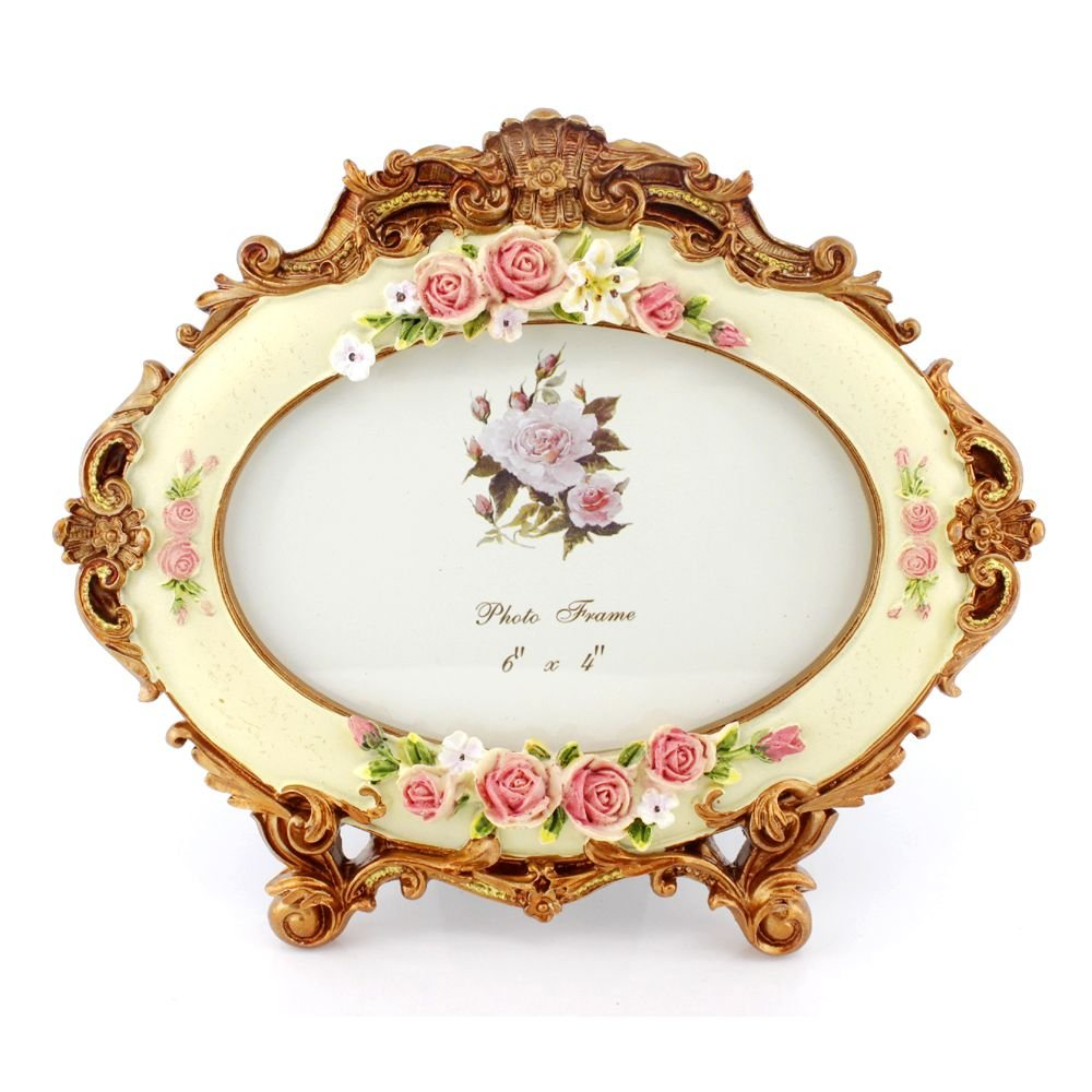4x6 Inches Victorian Floral Decorated Oval Photo Frame for Home Decor