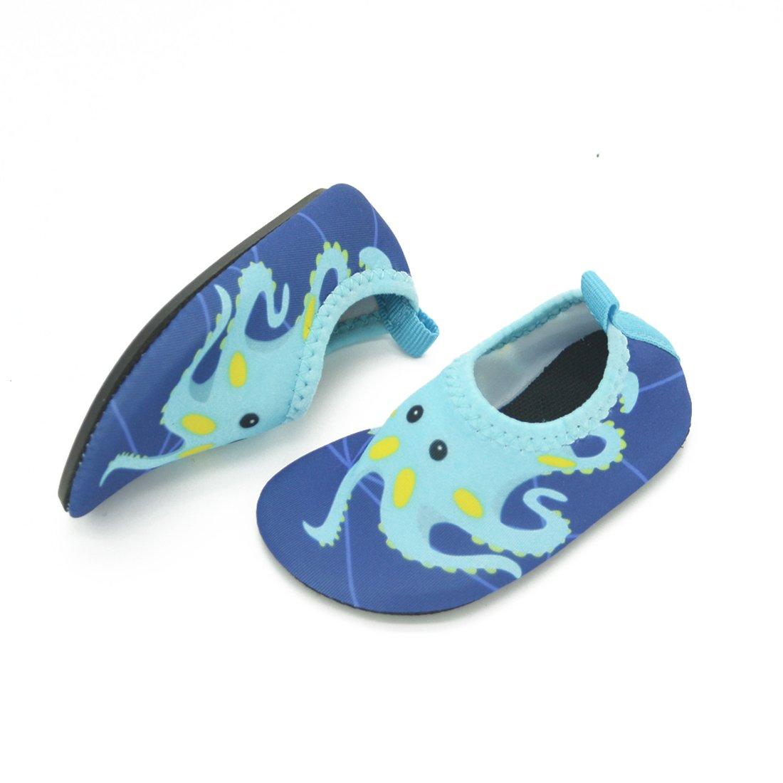 Lauwodun Baby Boys Girls Water Shoes Barefoot Aqua Sock Shoes for Beach Pool Surfing Yoga Swimming Walking-Green Octopus1819 by Lauwodun (Image #6)