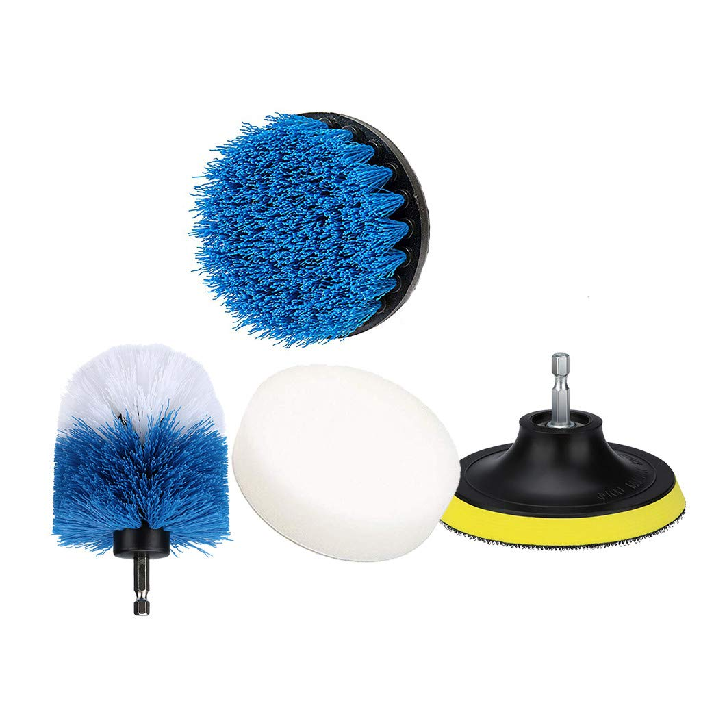 Electric Drill Brush Head 4Pcs/Set, Power Scrubber Brush Cleaning Kit (1 Yellow Brush Plate, 1 White & Blue 3.5 Inch Ball Head, 1 4 Inch Sky Blue , 1 White Waxing Sponge)