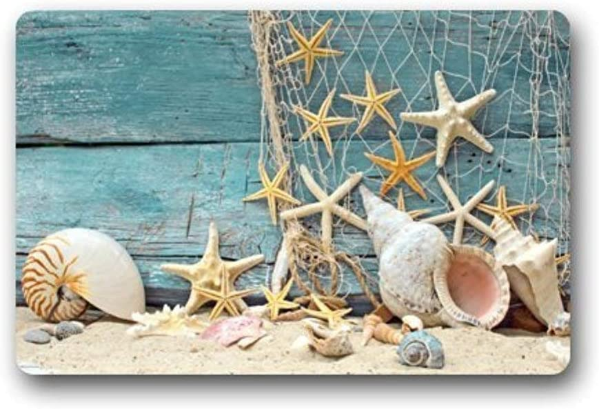 Sea Beach Starfish on Fishing Net Door Mat