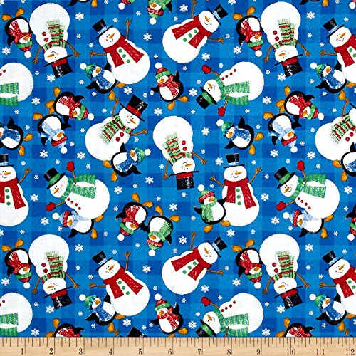 Season's Greetings Snowman Blue Fabric By The (Seasons Greetings Snowman)
