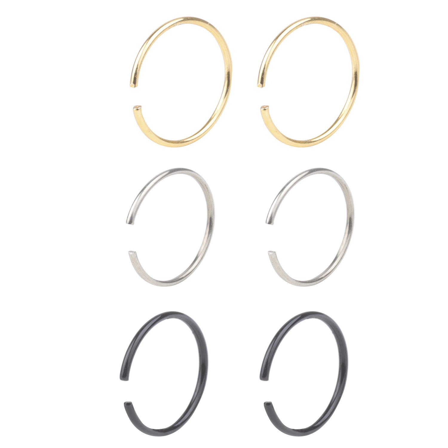 That's Us Women's Body Jewelry 20G Non Pierced Stainless Steel Clip on Closure Round Ring Fake Nose Lip Helix Cartilage Tragus Ear Hoop 6mm 6pcs, Black, Gold, Steel