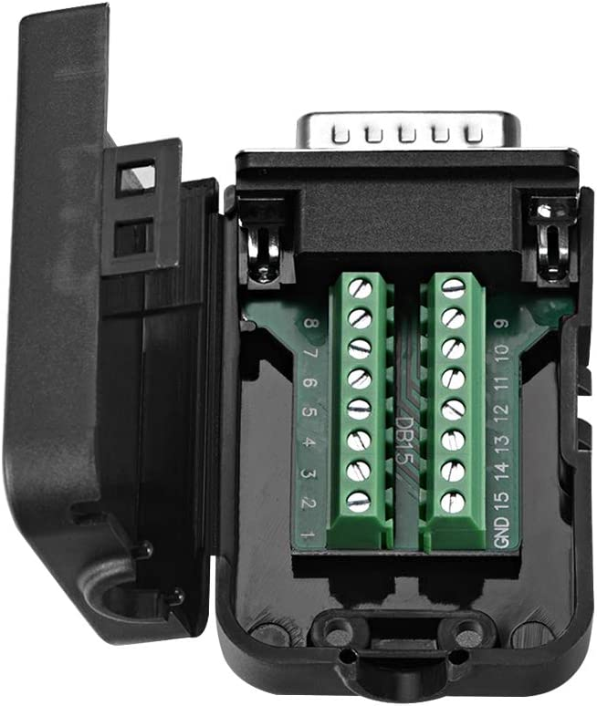 uxcell D-sub DB9 Breakout Board Connector with Case 9 Pin 2 Row Female Port Solderless Terminal Block Adapter with Thumb Screws
