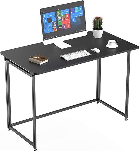 It's_Organized Folding Desk 43 inch Writing Computer Desk Modern Simple Study Desk Industrial Style Folding Laptop Table
