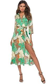 749046af65a SHENGYI Women s Vintage Boho Printing 3 4 Sleeve Lapel Collar Button Belt  Casual Dress