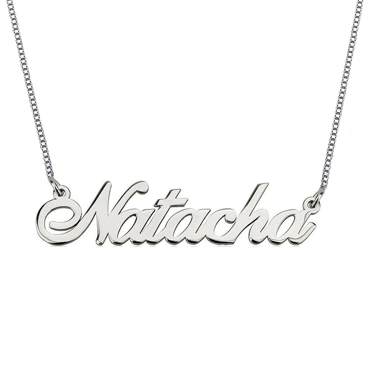HACOOL Personalized Necklace, Custom Name Necklaces 18K White Gold Pendant for her Thanksgiving Day Birthday Gift by HACOOL