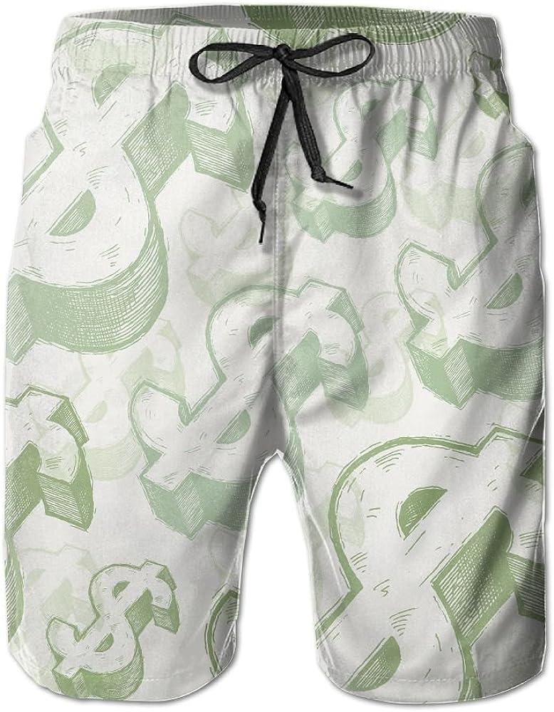 LUASD Mens Money Dollar Quick Drying Moisture Perspiration Beach Pants Swim Trunks