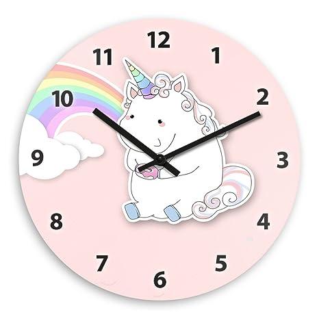 Wanduhr mit Motiv – Einhorn mit Donut und Regenbogen - für Mädchen    Kinderzimmer-Uhr   Kinder-Uhr