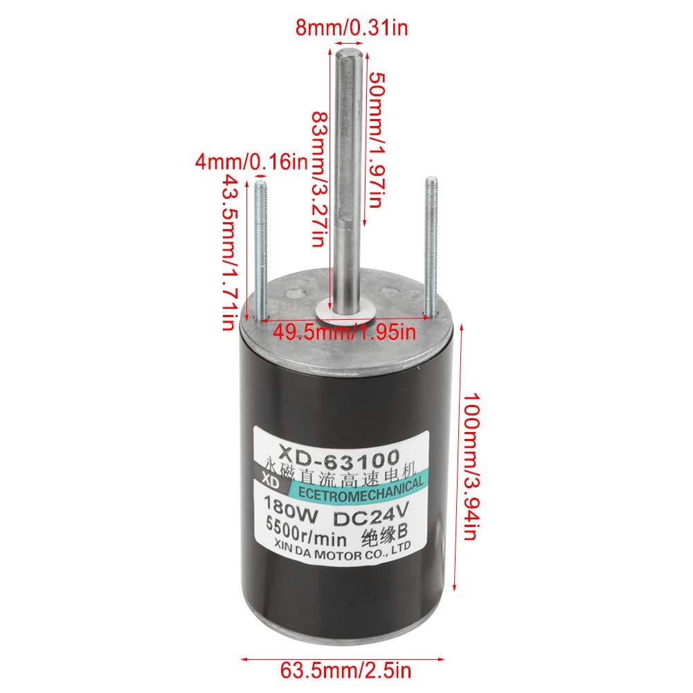 24V 5500RPM 12//24V 150W Electric Motor Large Power High Speed Brush DC Motor CW//CCW For DIY Generator