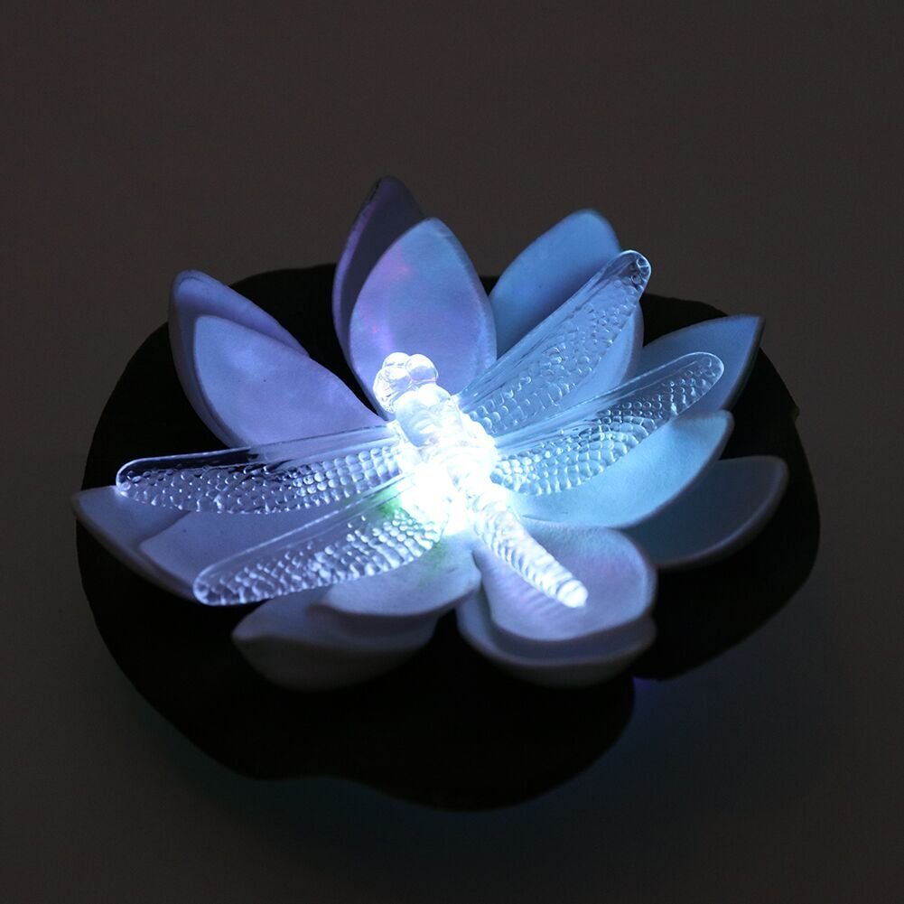 LOGUIDE Floating Dragonfly LED Lotus Light Waterproof Firefly Trendy Hip Unique Color-Changing Flower Night Lamp Garden House Lights Pool Party Fancy Ideal Novel Creative Gift Christmas - Set of 12