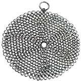 Kaimao 316 Stainless Steel Chainmail Scrubber – No Scratches Cast Iron Cleaner 7x7 inch Round