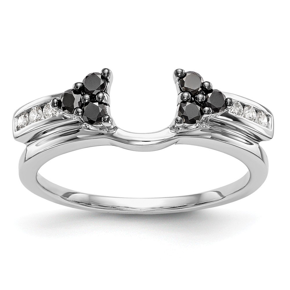 14K White Gold Black & White Diamond Enhancer Ring Guard Wrap 0.33 cttw