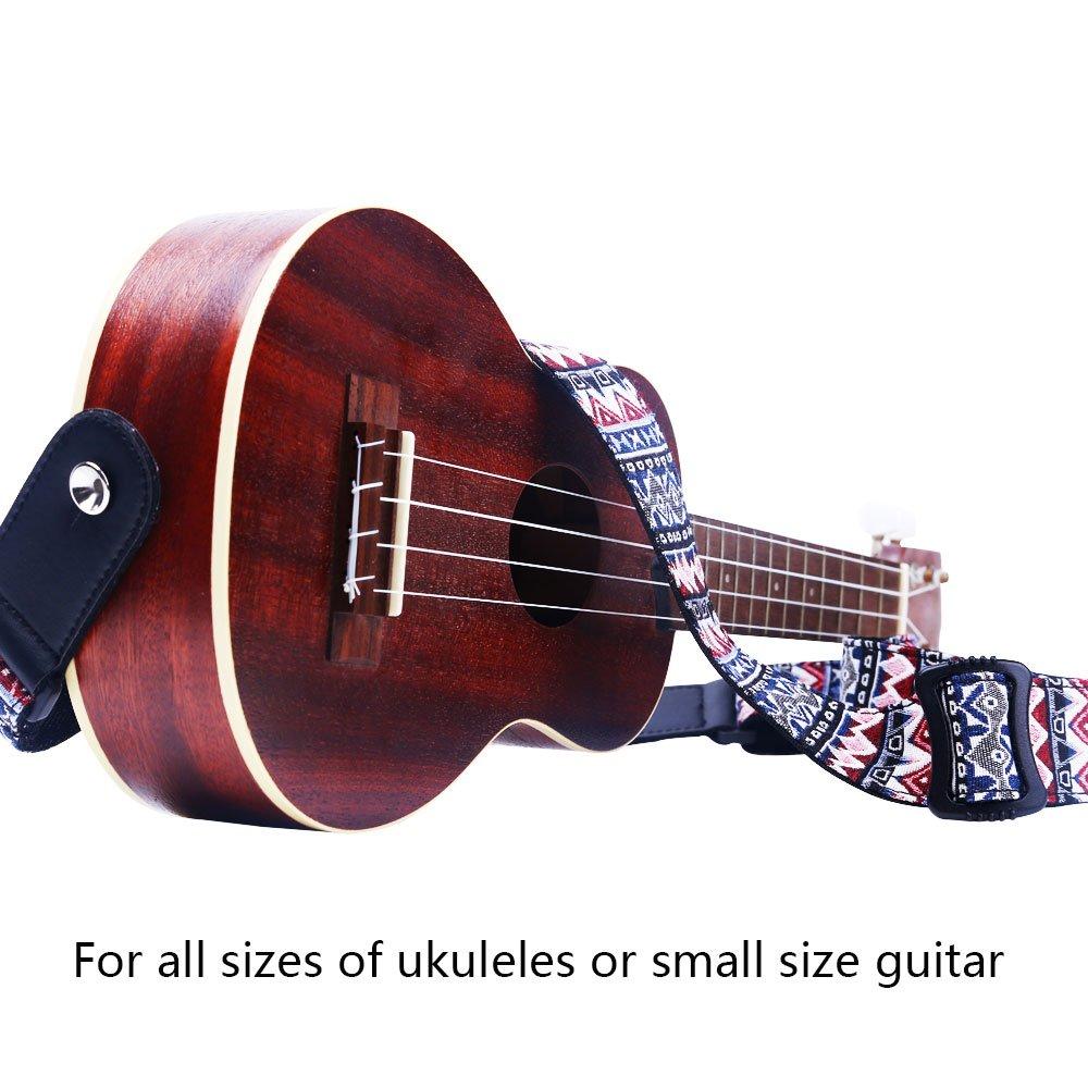 Rayzm Correa para Ukelele , con Bordado de Algodón de Estilo Bohemio, 4cm de Ancho, Longitud Ajustable Desde 78 a 132cm.: Amazon.es: Instrumentos musicales