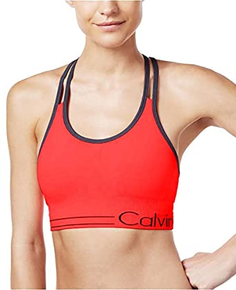 4daaa9e467 Calvin Klein Performance Women`s Long Line Strappy Bra with Ruched Front  (Vivid Pink