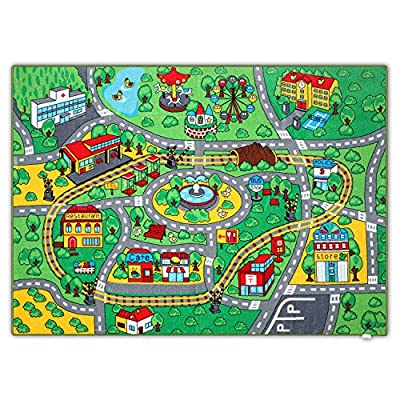 "JACKSON 52X74"" Extra-Thick,Extra-Large Kid Rug Playmat For Babies, Toddlers and Kids ,City Play Rug for Toy Cars and Trucks with Non-Slip Backing,No Chemical Smell, Safe And Fun Crawl Mat for Children"