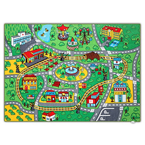 Rug Fun Trucks - Jackson Extra-Thick Kid Car Rug Playmat for Toddlers and Kids,52