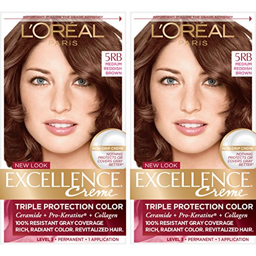 L'Oréal Paris Excellence Créme Permanent Hair Color, 5RB Medium Reddish Brown, 2 COUNT 100% Gray Coverage Hair Dye