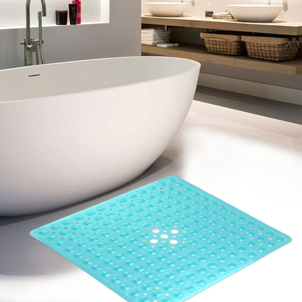 Transparent Green Antibacterial Rubber Kids Shower Mat Safety Bathtub Mat with Suction Cup Anti Mould Shower Mats Square Shower Mat Non Slip 53 /× 53cm Machine Washable Tub Mat with Drain Holes