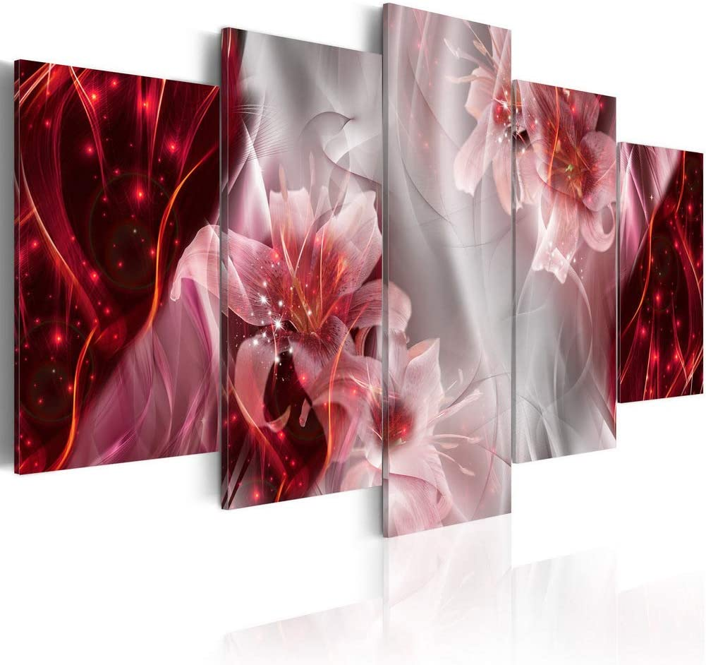 5 Piece Pink Lilies Flower Painting Prints Decor Artwork on Canvas Wall Art Framed Floral Picture Decoration for Bedroom