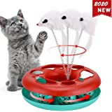 Interactive Cat Toys Roller, Spring Cat Toys with Catnip, Kitten Tracks, Pet Toy with Moving Balls Teaser Mouse Exercise