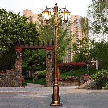 ZHEN 2 cabezas al aire libre impermeable jardín iluminación europea creativa hexagonal jardín villa decoración césped luz de la calle Edison E27 patio lámpara de ...
