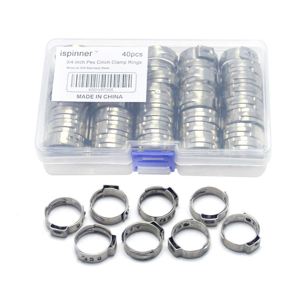 Ispinner 3/4-inch Stainless Steel PEX Cinch Clamp Rings For PEX Tubing Pipes, 40pcs-pack (3/4-inch)
