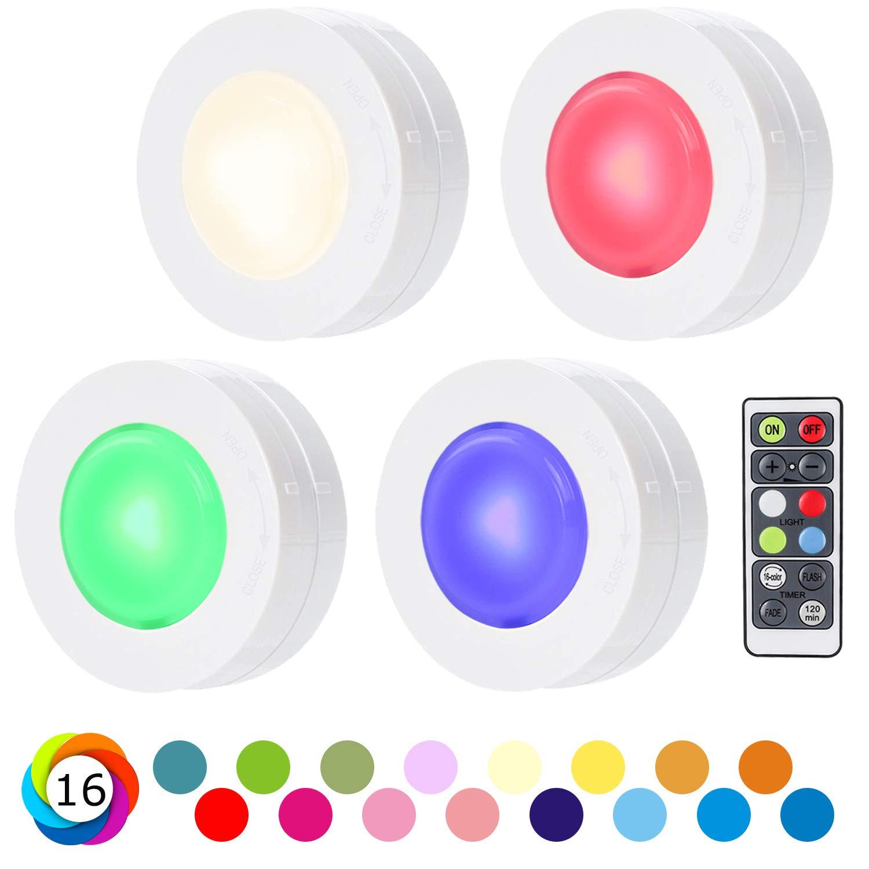 SALKING Schrankleuchten LED Nachtlicht mit Fernbedienung, RGB Leuchtmittel Dimmbar, Farbwechsel Birnenmit 16 Farben, Treppen Licht Wandbeleuchtung, Schlafzimmer, batteriebetrieben und 3M Klebend, 4er SALKING DIRECT