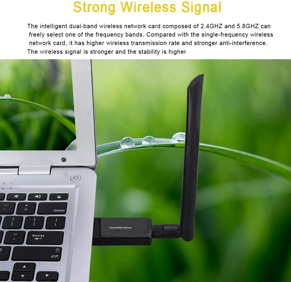 Pomya Mini Wireless Network USB WiFi Adapter 2.4GHZ 5.8GHZ Dual Bande 600Mbps 802.11AC with Bluetooth 4.0 Adapter CD High Speed Anti-Interference High Gain Antenna