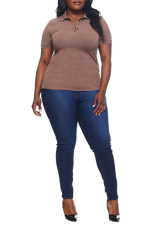 XL, Mocha acive Womens Ladies Plus Sizes Curvy Classic Charming Design Polo Tops t7533